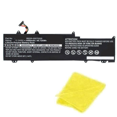 amsahr Replacement Battery for Asus 0B200-00070200, C31N1330, C31PO95, UX32LN-R4053H, UX32LN (4400mAh, 11.31V, 3 Cell) - Includes Cleaning Cloth.