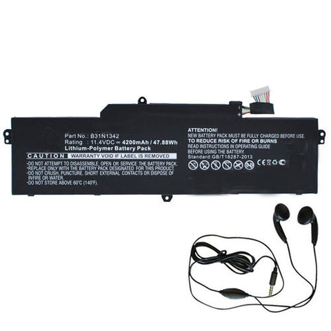 amsahr Extended Life Replacement Battery for ASUS B31N1342, C200MA-DS01, C200MA-KX003, Chromebook C200, Chromebook C200M, Chromebook C200MA (4110MAH, 48WH, 11.4V) - Includes Stereo Earphone