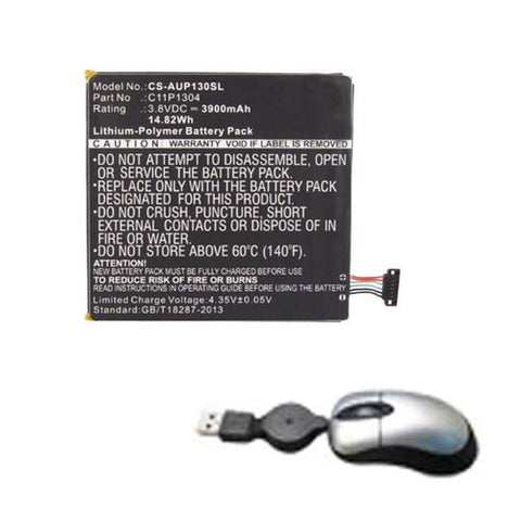 amsahr Replacement Battery for ASUS C11P1304, ME137, ME173X, MeMO Pad HD7 (14.82Wh, 3.8V) - Includes Mini Optical Mouse