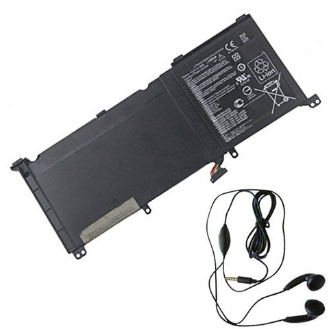 amsahr Extended Life Replacement Battery for ASUS C41N1416, UX501JW, G60JW4720, UX501JW-CN245R, UX501JW-FI177H, UX501JW-FI218T, ZenBook Pro UX501 (15.2V, 60WH) - Includes Stereo Earphone