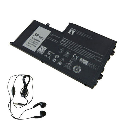 amsahr Extended Life Replacement Battery for DELL 0PD19, Dell Latitude 3550-0123, Latitude 3550, Dell 0DFVYN, 0PD19, 58DP4, OPD19 (7.4V, 7600MAH/58WH, 4-CELL) -Includes Stereo Earphone