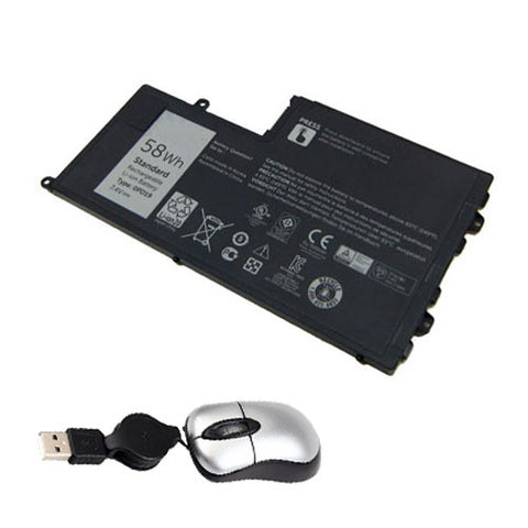 amsahr Replacement Battery for DELL 0PD19, Dell Latitude 3550-0123, Latitude 3550, Dell 0DFVYN, 0PD19, 58DP4, OPD19 (7.4V, 7600MAH/58WH, 4-CELL) - Includes Mini Optical Mouse
