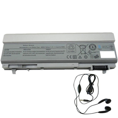 amsahr Extended Life Replacement Battery for DELL Latitude F8TTW, E6400, E6410, 4M529 (6600mAh, 11.1V, 9-Cell) - Includes Stereo Earphone