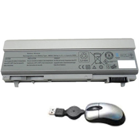 amsahr Replacement Battery for DELL Latitude F8TTW, E6400, E6410, 4M529 (6600mAh, 11.1V, 9-Cell) - Includes Mini Optical Mouse