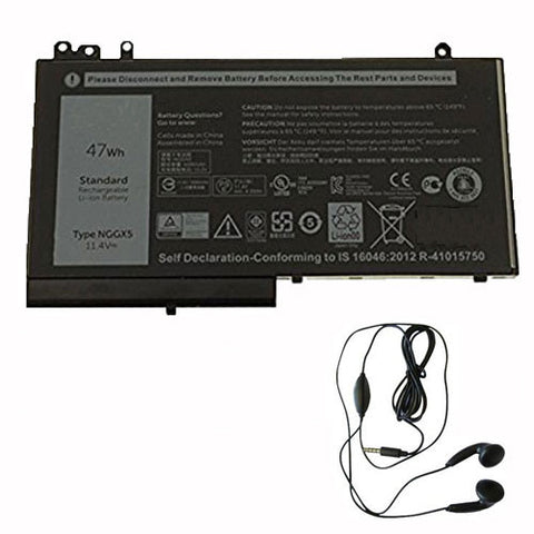 amsahr Extended Life Replacement Battery for Dell NGGX5, 0RDRH9, RDRH9 (11.4V, 47Wh) - Includes Stereo Earphone
