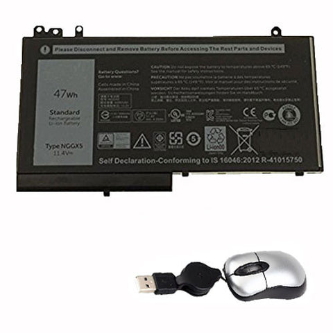 amsahr Replacement Battery for Dell NGGX5, 0RDRH9, RDRH9 (11.4V, 47Wh) - Includes Mini Optical Mouse