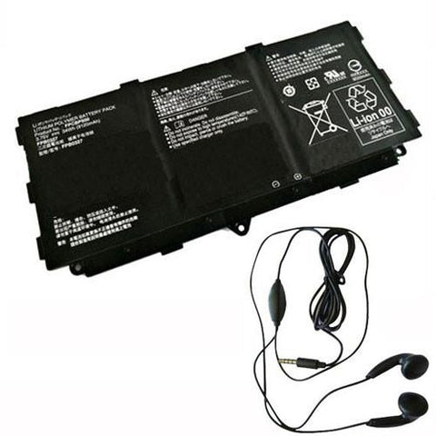 amsahr Extended Life Replacement Battery for FUJITSU FPCBP500, FPB0327, CP695045 (3.75V, 34WH) - Includes Stereo Earphone