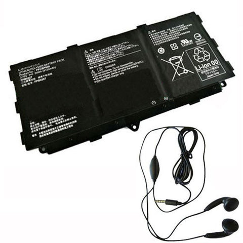 amsahr Extended Life Replacement Battery for FUJITSU FPCBP500, FPB0327, CP695045-01 (3.75V, 34WH) - Includes Stereo Earphone