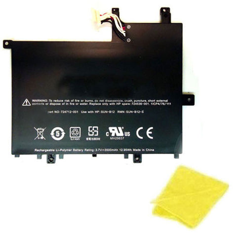 amsahr Replacement Battery for HP 728687-001, 724536-001, 724712-001, 728687-001, FB1350, SUN-B12, SUN-B12-S, HP slate 7 tablet (3.7V, 3500MAH/12.95WH) - Includes Cleaning Cloth