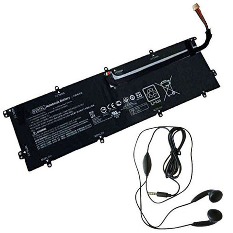 amsahr Extended Life Replacement Battery for HP BV02XL, ENVY x2 Detachable 13, HSTNN-IB6Q, HSTNNIB6Q, 775624-1C1, 7756241C1, 776621-001, 776621001, TPN-I116 (7.6V, 33WH) - Includes Stereo Earphone