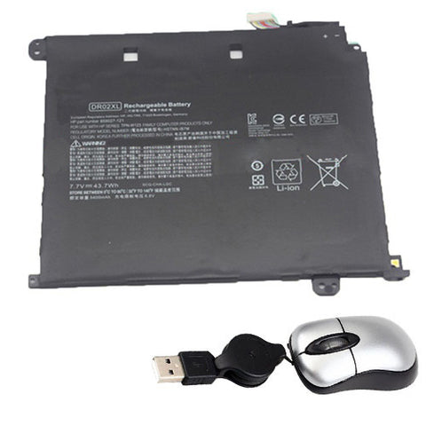 amsahr Replacement Battery for HP DR02XL, Hp HSTNN-IB7M, 859027-121, 859027-121, DR02043XL, DR02XL, HSTNN-IB7M, TPN-W123  (7.7V, 43.7WH) - Includes Mini Optical Mouse