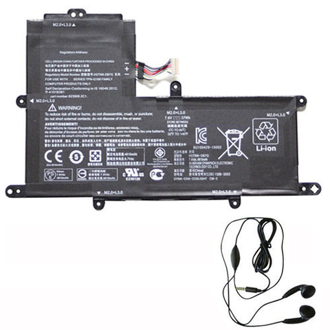 amsahr Extended Life Replacement Battery for HP PO02XL, 824560-005, 823908-1C1, HP Stream, 11-R 11-R014WM Series (7.6V, 37WH) - Includes Stereo Earphone.