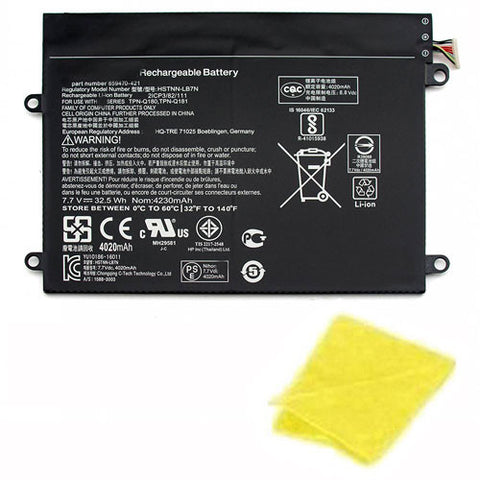 amsahr Replacement Battery for HP SW02XL, HP 859470-1B1, HP HSTNN-IB7N (7.7V, 32.5WH) - Includes Cleaning Cloth.