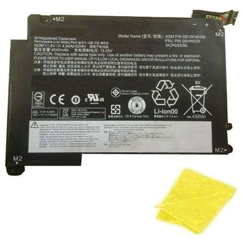 amsahr Replacement Battery for LENOVO 00HW020, Lenovo 00HW021, Lenovo SB10F46459 Series (11.4V, 53WH) - Includes Cleaning Cloth.