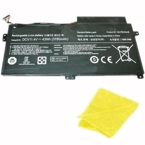 amsahr Replacement Battery for SAMSUNG AA-PBUN3AB, AA-PBUN3QB, BA43-00379A (11.4V, 43WH) - Includes Cleaning Cloth