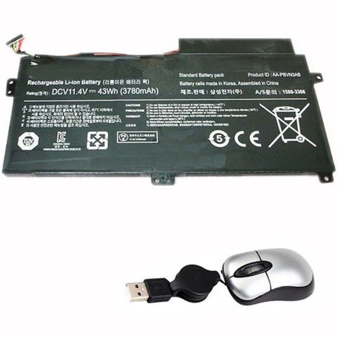 amsahr Replacement Battery for SAMSUNG AA-PBUN3AB, AA-PBUN3QB, BA43-00379A (11.4V, 43WH) - Includes Mini Optical Mouse
