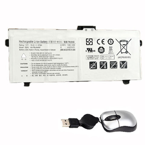 amsahr Replacement Battery for SAMSUNG AA-PBUN4NP, NP940Z5J Laptop (15.2V, 57WH) - Includes Mini Optical Mouse