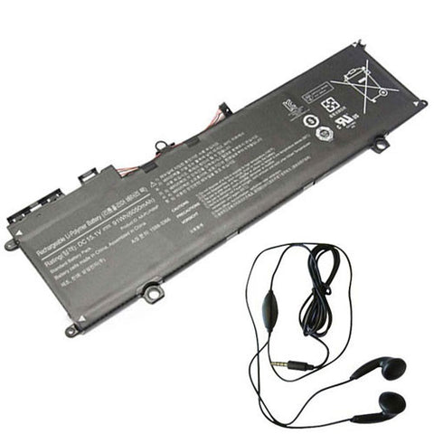 amsahr Extended Life Replacement Battery for SAMSUNG AA-PLVN8NP, NP880Z5E-X01SE, NP870Z5E-X04IT, NP880Z5E-X01AU, NP880Z5E-X01DE, NP880Z5E-X01UB (6050mAh/91Wh, 15.1V) - Includes Stereo Earphone