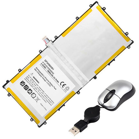 amsahr Replacement Battery for SAMSUNG GT-P8110, BA43-00292A, 900X1AA01US, 900X3A-B02US, A02, B04CH, 900X1B-A02, 900X3A-A02US, 900X3AB01, A02 (3.75V, 9000MAH) - Includes Mini Optical Mouse