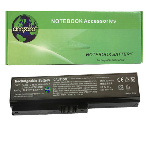 Amsahr 100% Compatible Non-OEM Replacement Durable Laptop Battery for Toshiba Satellite PA3634U A660 Series with Rechargeable No Memory Effect and Power Surge Protection