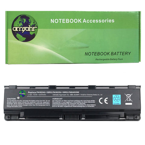 Amsahr 100% Compatible Non-OEM Replacement Durable Laptop Battery for Toshiba PA5024U-1BRS Series with Rechargeable and No Memory Effect and Power Surge Protection