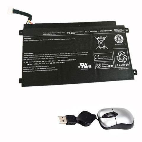 amsahr Replacement Battery for TOSHIBA PA5255, PA5255U-1BRS (11.4V,43WH, 3660 mAh) - Includes Mini Optical Mouse