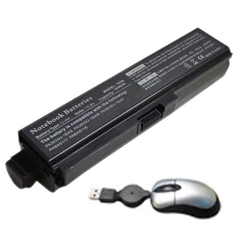 amsahr Replacement Battery for TOSHIBA EQUIUM U400, Portege M800, Satellite Pro M300 Series, Toshiba PA3634U-1BAS, PA3634U-1BRS, PA3635U-1BAM (6600mAh, 10.8V) - Includes Mini Optical Mouse