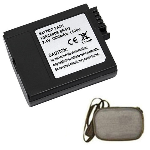 Amsahr Extended Life Replacement Digital Camera and Camcorder Battery for Canon BP-406, BP-407, BP-412, MVX10i, IXY DV, IXY DV 2, DM-MV3, DM-MV3i - Includes Hard Case Camera Bag