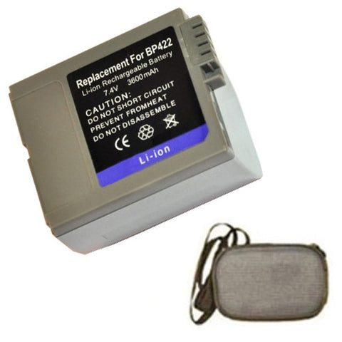 Amsahr Extended Life Replacement Digital Camera and Camcorder Battery for Canon BP-406, BP-407, BP-412, BP-422, DM-MV3, DM-MV3I, DM-MV3IMC - Includes Hard Case Camera Bag