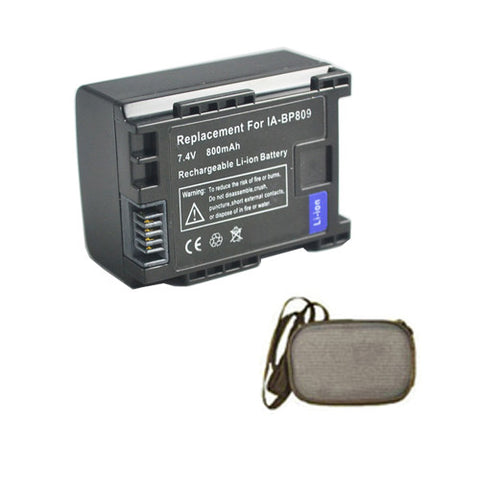 Amsahr Extended Life Replacement Digital Camera and Camcorder Battery for Canon BP-807, BP-808, BP-809, BP-809(B), BP-809(S), VIXIA 100, VIXIA 11 - Includes Hard Case Camera Bag