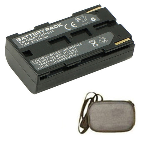 Amsahr Extended Life Replacement Digital Camera and Camcorder Battery for Canon BP-911, BP-911K, BP-914, BP-915, C2, DM-MV1, DM-MV10, E1, E2, E30, ES: 300V, 4000, G10 - Includes Hard Case Camera Bag