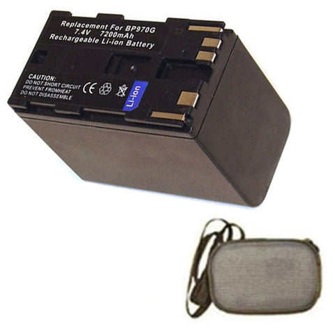 Amsahr Extended Life Replacement Digital Camera and Camcorder Battery for Canon BP-9387ZH, BP-950, BP-950G, BP-950G (OTH), BP-970, XH A1, XH A1S - Includes Hard Case Camera Bag
