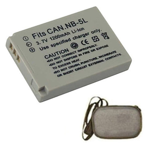Amsahr Extended Life Replacement Digital Camera and Camcorder Battery for Canon NB-5L, Digital IXUS: 800 IS, IXY Digital: 1000 IXY, PowerShot: SD700 - Includes Hard Case Camera Bag