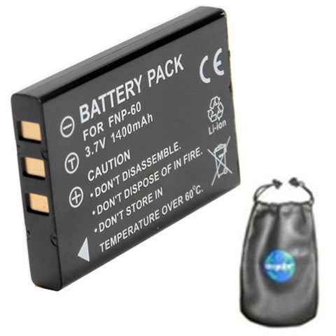 Amsahr Digital Replacement Camera and Camcorder Battery for Fujifilm NP-60, FinePix 50i, 601, F401, F410, F601, M603, Casio QV-R3, QV-R4, HP R507, R607 -Includes Lens Accessories Pouch