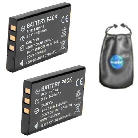 ValuePack (2 Count): Digital Replacement Camera and Camcorder Battery for Fujifilm NP-60, FinePix 50i, 601, F401, F410, F601, M603, Casio QV-R3, QV-R4, HP R507, R607 - Includes Lens Accessories Pouch