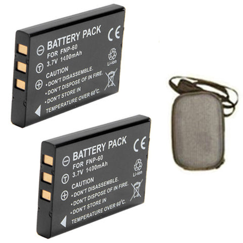 ValuePack (2 Count): Extended Life Replacement Digital Camera and Camcorder Battery for Fujifilm NP-60, FinePix 50i, 601, F401, F410, Casio QV-R3, QV-R4, HP R507, R607 - Includes Hard Case Camera Bag