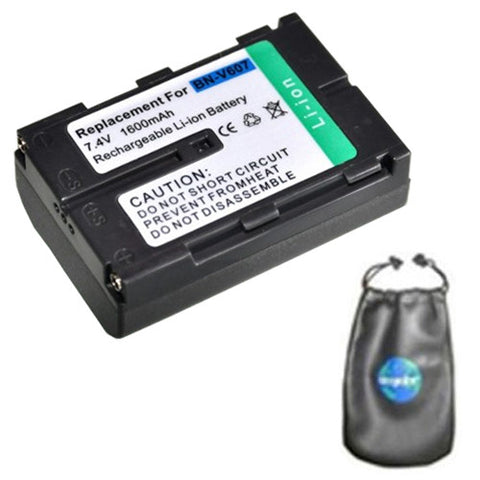 Amsahr Digital Replacement Camera and Camcorder Battery for JVC BN-V607, BN-V607U, GR: DV3, DV3U, DV5, DV5U, DV808, DVM828, GV-HT1U - Includes Leatherette Camera / Lens Accessories Pouch
