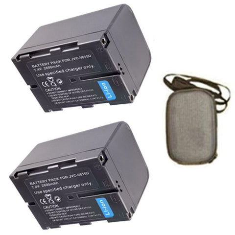 Amsahr ValuePack (2 Count): Extended Life Replacement Digital Camera and Camcorder Battery for JVC BN-V615, BN-V615U, BN-V607, BN-V607U, GR: DV3, DV3U, DV808, DV808U - Includes Hard Case Camera Bag