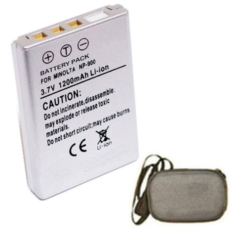 Amsahr Extended Life Replacement Digital Camera and Camcorder Battery for Minolta Konica NP-900, 02491-0015-00, BENQ 02491-0015-00, Dimage E40 - Includes Hard Case Camera Bag