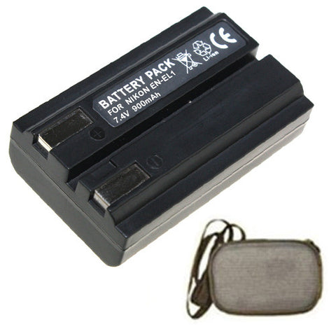 Amsahr Extended Life Replacement Digital Camera and Camcorder Battery for Nikon EN-EL1, ENEL1, Coolpix, 5000, 5400, 5700, 775, 8700, 880, 885, 995 - Includes Hard Case Camera Bag