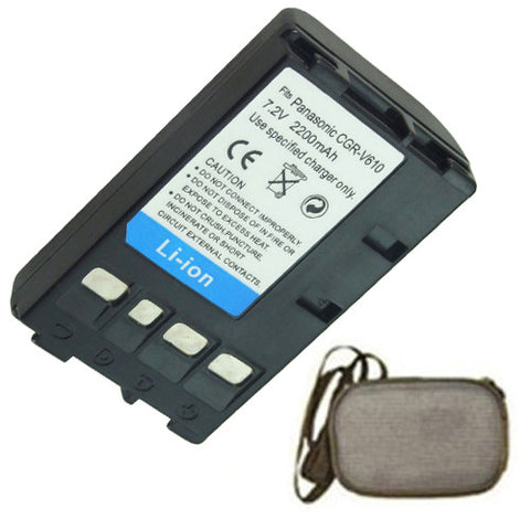 Amsahr Extended Life Replacement Digital Camera and Camcorder Battery for Panasonic CGR-V610, CGR-V14, CGR-V114, NV-NCO11, NV-NCO11R, NV-RZ1 - Includes Hard Case Camera Bag