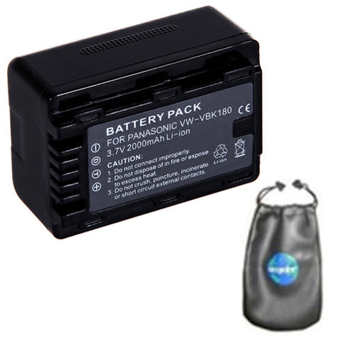 Amsahr Digital Replacement Camera and Camcorder Battery for Panasonic VW: VBK180, VBK180K, VBK360E-K, VBL090, VBL090E, HC: V10, V100, V500, HDC: SDX1, TM90 - Includes Accessories Pouch