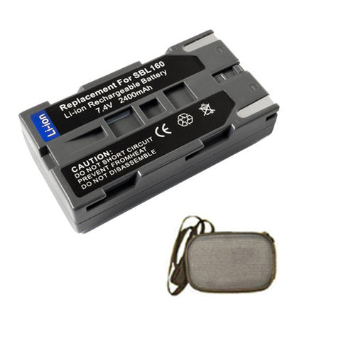 Amsahr Extended Life Replacement Digital Camera and Camcorder Battery for Samsung SB-L160, SBL160, VP-L500, SC-L907, VP-L800, VP-L850, VP-L870 - Includes Hard Case Camera Bag