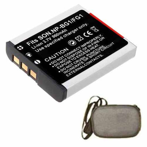 Amsahr Extended Life Replacement Digital Camera and Camcorder Battery for Sony NP-BG1, DSC-H3, DSC-H50, DSC-H7, DSC-H9, DSC-N1, DSC-N2, DSC-W80HDPR - Includes Hard Case Camera Bag