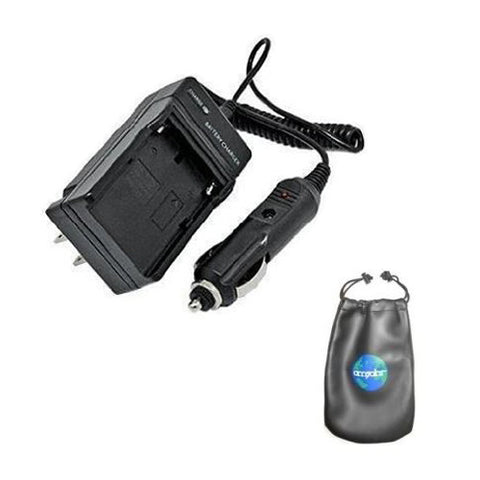 Amsahr Digital Replacement Camera and Camcorder Mini Battery Travel Charger for Olympus Li-10B, LI10B, LI-10C, LI-12B, Li12B, FE-200 with Intelligent-Charge Technology -Includes Lens Accessories Pouch