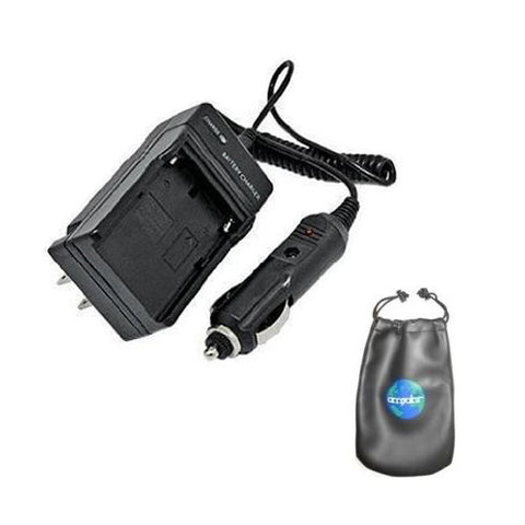 Amsahr Digital Replacement Camera and Camcorder Mini Battery Travel Charger for Sharp BT-L225, BT-L225U, BT-L445, BT-L445U, BT-L665 with Intelligent-Charge Technology - Includes Lens Accessories Pouch