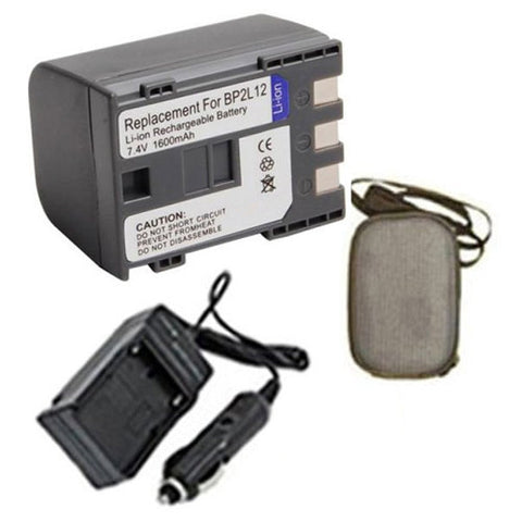 Amsahr Extended Life Replacement Digital Camera and Camcorder Battery PLUS Mini Battery Travel Charger for Canon BP-2L12, 2L12, 2L14, ELURA 40mc, OPTURA 30 - Includes Hard Case Camera Bag