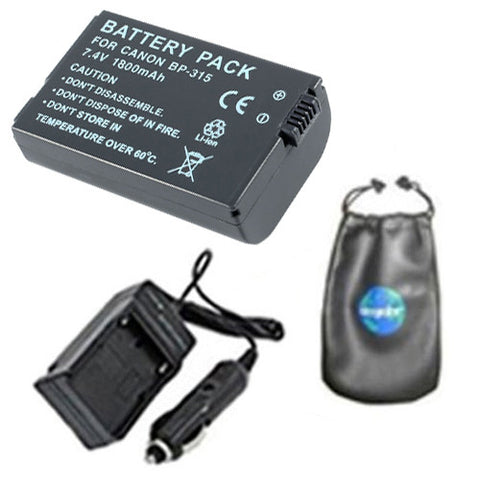 Amsahr Digital Replacement Digital Camera and Camcorder Battery PLUS Mini Battery Travel Charger for Canon BP-315, DC10, 50, Optura: S1, IXY: DVS1 - Includes Lens Accessories Pouch