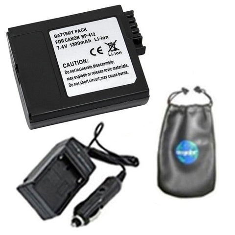 Amsahr Digital Replacement Digital Camera and Camcorder Battery PLUS Mini Battery Travel Charger for Canon BP-412, 406, 422, Optura 300, Elura: 20MC - Includes Lens Accessories Pouch