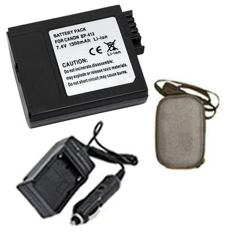 Amsahr Extended Life Replacement Digital Camera and Camcorder Battery PLUS Mini Battery Travel Charger for Canon BP-412, 406, 422, Optura 300, Elura: 20MC - Includes Hard Case Camera Bag